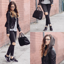 Michelle Madsen - Free People Jacket, Gap T Shirt, All Saints Jeans, Nike Sneakers, Warby Parker Glasses - GREY ON GREY