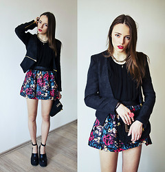 Darina Suprun - Http://Www.Martofchina.Com/Ethnic Style Flowers Print A Line Mini Skirt G97238.Html?Lkid=307 Skirt, Http://Www.Martofchina.Com/Formal Long Sleeve Zipper Decoration Solid Black Blazer G89655.Html?Lkid=308 Blazer, Mango Bag, Jeffrey Campbell Shoes - Rendezvous