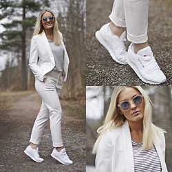 Marie Wolla - Selected Femme Blazer, Selected Femme Pants, Moss Copenhagen T Shirt, Reebok Sneakers, Le Specs Sunglasses - White reflections