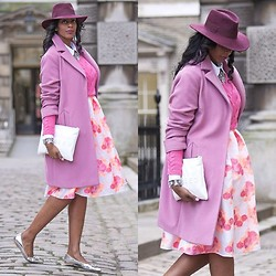 Marsha Campbell - Marks & Spencer Coat, Warehouse Jumper, Asos Dress, Whistles Hat, Zara Clutch, Lk Bennett Shoes - Pink Romance