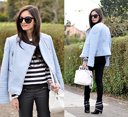 Alba . - Zara Look, Zerouv Sunglasses - ...Baby Blue Jacket...