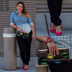 Alice Hernandez - Mossimo Printed Chambray Shirt, Kate Young Red Lip Bangle, Charming Charlie Lip Print Clutch, Ann Taylor Black Skinny Jeans, Rock & Republic Pink Patent Leather Pumps - Hearts, Kisses & Lots of Denim