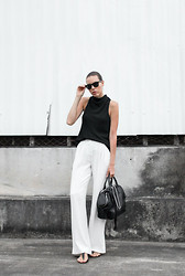 Kaitlyn Ham - Camilla And Marc Assent High Neck Tank Top, Sass & Bide White Silk Wide Leg Pants, Alexander Wang Jamie Chastity Chain Tote Bag, Atp Yolanda Leather Sandal, Ray Ban Oversized Wayfarer Sunglasses - 9 To 5.
