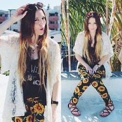 Ashley Prybycien - Jacvanek Sunflower Pants, Urban Outfitters Lace Kimono, Pacsun Live Wildly Graphic - Live Wildly