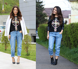 Sandra Bendre - Sheinside Blouse, Mart Of China Boots - Rhinestone cross and BF jeans