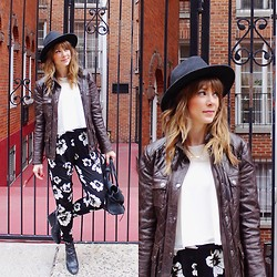 Kaitness - Asos Floral Pants, Coach Leather Jacket, River Island Flowy Top, Zara Wedge Booties, Club Monaco Hat, Speakable Choose Joy Necklace - Earthy Floral