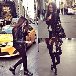 Mariam Argvliani - Topshop Boots, H&M Sweater, Bershka Bag, Calvin Klein Skinny Jeans, Topshop Leather Jacket - Simplicity is the key <3