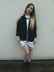 Jade Anne - Urban Outfitters Denim Jacket, Missguided White Dress, New Look Boots - Everyday ought to be a bad day for you