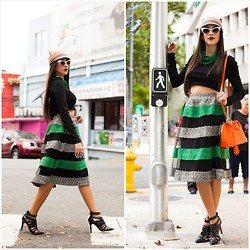 The Pecking Order - Zara Pointy Shoes, Louis Vuitton Bag, Forever 21 Sunnies, Bcbg Kitty Hat, H&M Crop Top - The Midi Skirt
