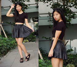 Yuen L. - Missguided Black Crop Top, New Look Black Suede Wedges - Earth Hour 2014
