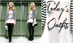 Laura P - Cotton On Leather Leggins, H&M Lace Up Platform Boots, Striped Blazer, Graphic Tank, Black And White Purse - OOTD