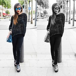 Rosa Pel - Chicnova Sparkle Sweater, H&M Black Pants, Yesstyle Black Sandals, Zerouv Mirrored Shades - Sparkle sweater