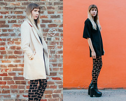 Ashley Treece - Sheinside Coat, Missguided Boxy Dress, Jeffrey Campbell Mulder Ankle Boots - BRICK BY BRICK