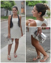 Priscilla B. - C&A White Lace Dress, Vest Jeans, Akazzo Flats, Joie Silver Clutch Beauty - Cine