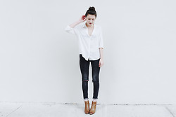 Rima Vaidila - Brandy Melville Usa Silk Button Up, All Saints Ripped Knee Skinny Jeans, Dolce Vita Leather Ankle Booties - Overcast