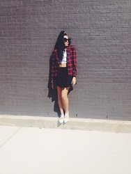Daria Harper - Thrifted Plaid Blazer, Boy London Crop Tee, Forever 21 Black Pleated Skirt, Shoe Cult White Point Toe Flat, Patricia Field Oversized Winged Sunglasses - Clueless