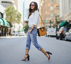 Daniela Ramirez - Nany's Klozet X Melao Blouse, Adriano Goldschmied Boyfriend Jeans, Shoemint Shoes, Sole Society Bag - Shoes speak louder than words...
