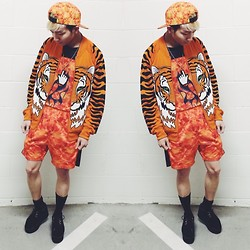 King Htut - Sowet69 Firewall Cap, Sowet69 Firewall Tee, Marinafini Hand Cursor Necklace, Jeremy Scott Tiger Jacket, Sowet69 Firewall Shorts, Yru Kreep Creepers - Orange is the New Black