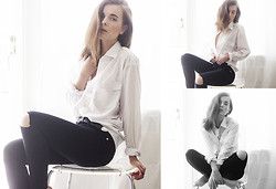 Ingrid Wenell - My Dad´S Old Shirt, Bought In Paris Belt, Serious Sally (Trashed By Me) Jeans - Crispy white shirt