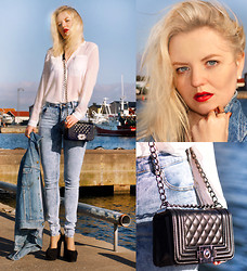 Elin Hansson - H&M White Shirt, Have2have Bag, Cheap Monday Stone Washed Denim, Lee Denim Jacket, Make Up Store Red Lipstick & Lippencil - ♡ Summer - Calvin Harris ♡