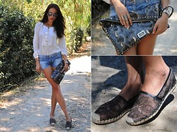Katia Peneva - Ray Ban Sunnies, Massimo Dutti Shirt, Valentino Clutch, Valentino Espadrilles, Faith Connexion Denim Shorts - Casual