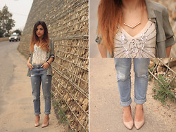 Maria Cheble - H&M Blouse, H&M Necklace, Centro Russia Nude Heels, Pull & Bear Jeans, H&M Top - Fresh Monochromatic