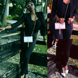 Gaëlle Seyi - Zara White Heel Sandal, Marc By Jacobs White Shades, Saint Laurent Cassandre Ysl Bag, Asos Black Outfit - Let's mix buisness with pleasure...