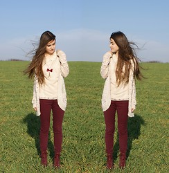 Andreea Mircea - Atmosphere Crocheted Cardigan, Eiffel Tower Necklace, Oasis Lace Top, I Love Shoes Burgundy Boots - Wind in my hair