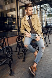 Konrad D - Zara Shoes, Diesel Jeans, H&M Sweater, Bershka Coat, H&M Shirt - Coffee time