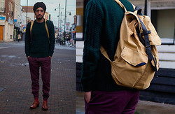 Pardeep Bahra - River Island Sweater, River Island Skinny Chinos, Topman Bag - Day out in London