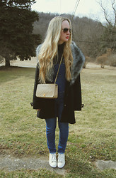 Stacey Belko - Boohoo Coat, Vintage Overalls, Chanel Bag, Guess? Shoes - Spring sneaks.