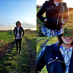 Weronika S. - Zara Leather Jacket, Pull & Bear Floral Shirt - Somewhere