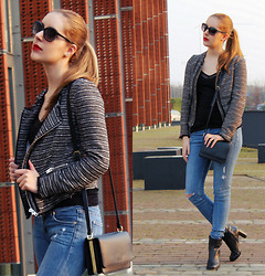 Soumaya - Mango Jacket, H&M Ripped Jeans, Clarks Ankle Boots, H&M Shoulder Bag - Red Brick,Red Lip