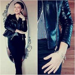 Weronika S. - Zara Leather Jacket, New Look Skinny Black Jeans, H&M Black And White Shirt - Simply the best