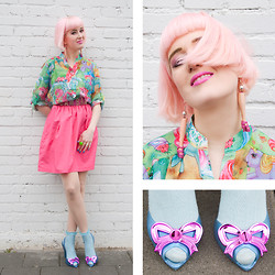 Lovely Sara - Iron Fist Clothing Blouse, Dotti's Vintage Skirt, Vivienne Westwood Shoes, Topshop Socks, Serena Kuhl Ring, Anne Sophie Cochevelou Earrings, Minkpink Belt - Cotton Candy Hair & Plastic Toys