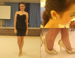 Danica Salazar - Isabella's Treasure Peplum Dress, Rusty Lopez Gold Heels - Already home