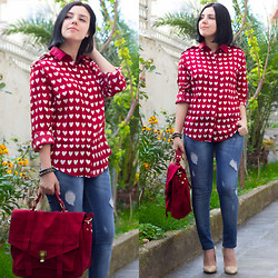 Emel Acar - Romwe Shirt, Chic Wish Bag - Burgundy Shirt