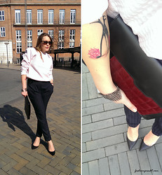 Adriana Urda - Kurt Geiger Pumps, Asos Clutch, River Island Trousers - PINSTRIPE AND PASTEL - loved by ASOS.com