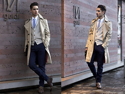 Scott Terral Downey Ѧ - Burberry Coat, Brunello Cucinelli Cardigan, Dries Van Noten Pant, Comme Des Garçons Tie - Ganesha