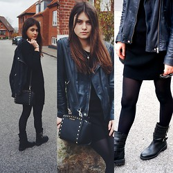 Diana Dolci - Massimo Dutti Leather Jacket, Zara Leather Boots, Michael Kors Leather Bag, Topshop Black Dress, Charles And Keith Sunglasses - Leather Look