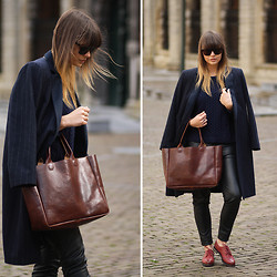 Iris . - Mango Coat, Persun Red Brogues, Rib & Hull Bag - RED BROGUES