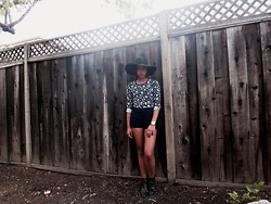 Danielle Nagtalon - Forever 21 Navy Shorts, Forever 21 Vintage Flower Top, Rolex Watch, Urban Outfitters Booties, American Apparel Hat - Plain & Prints