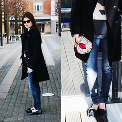 Diana Dolci - United Colors Of Benetton Black Coat, Guess? Ripped Jeans, Paul's Boutique Bag, Zara Black Shirt With Print, Massimo Dutti Sunglasses, Massimo Dutti Black Loafers - Elegantly Casual
