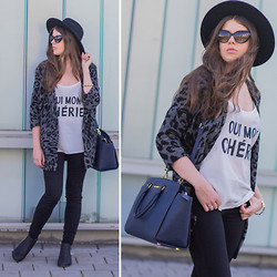 Frau Eismann - Gina Tricot Coat, H&M Hat, Gina Tricot Top, Zara Jeans, Asos Booties, Michael Kors Bag, Marc By Jacobs Sunglasses - Leopard coat