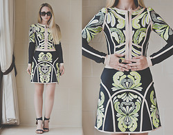 Olga Choi - Udobuy Jacket, Udobuy Skirt, Topshop Shoes, Oasap Ring, Victor & Rolf Sunglasses - Printing time