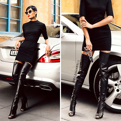 Micah Gianneli - Leather Thigh High Peep Toe Boots - All Class