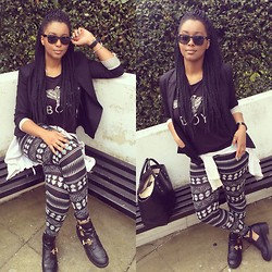 Khanyi L Ndlovu - Pull & Bear Blazer, Boy London Vest, Fashion Union Boots, H&M Leggings - Monochrome