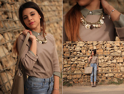 Maria Cheble - Zara Sweater, H&M Blouse, Parfois Necklace, Pull & Bear Jeans - Earth Colors