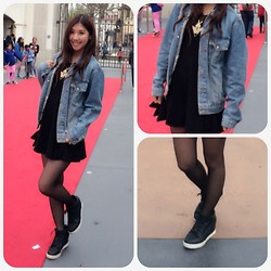 Angela Ma - H&M Sneakers, Brandy Melville Usa Denim Jacket, Forever 21 Necklace, Forever 21 Dress, Tights - Lets go to Universal Studio
