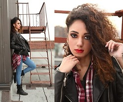 Lisette Melendez - Forever 21 Motorcycle Jacket, Aeropostale Plaid Shirt, American Apparel Easy Jeans, Urban Og Combat Boots - Leather n' Curls
